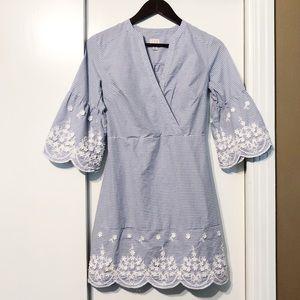 Blue White Scalloped Sleeved Spring Dress